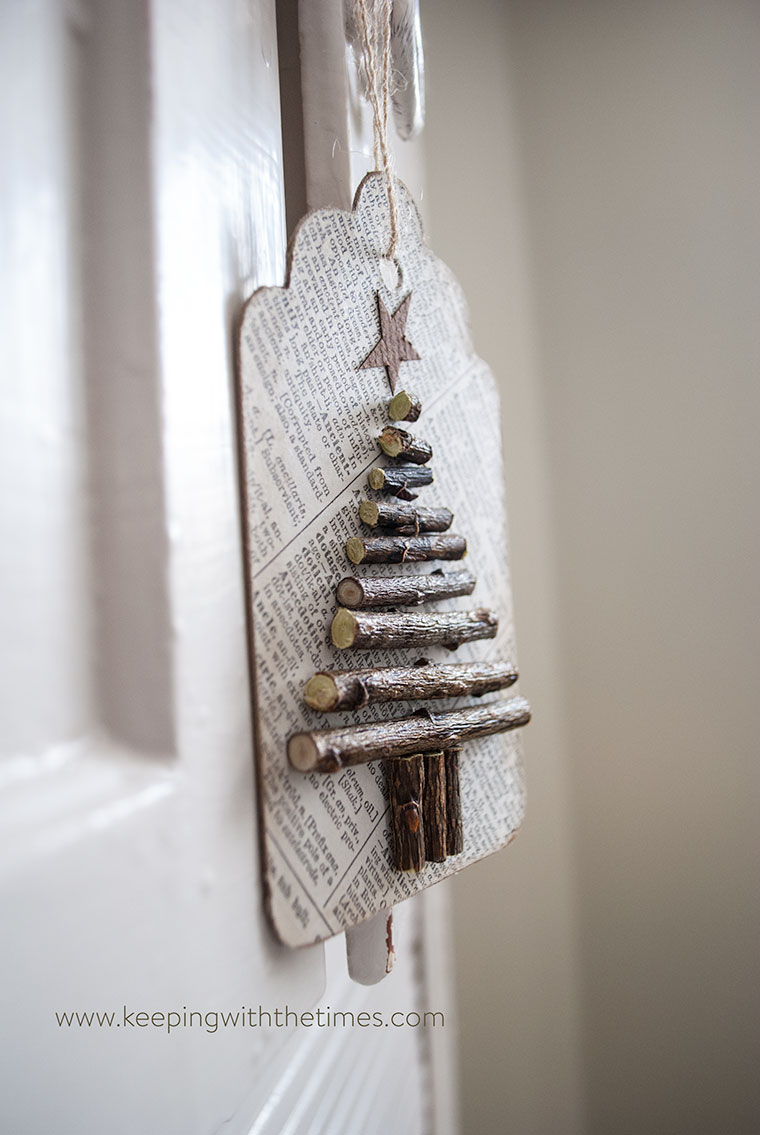 Recycled paper and twig gift tags
