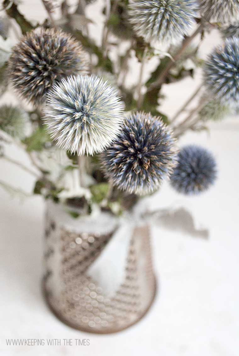 antique, flower vase, echinops, barb brookbank, keeping with the times