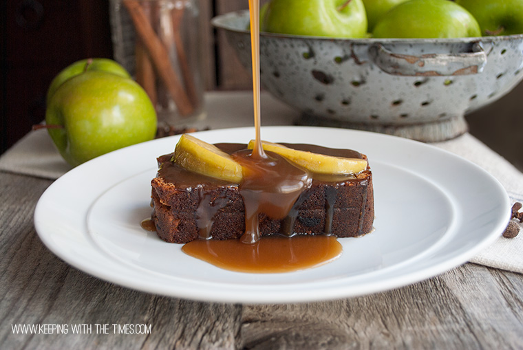 Gingerbread with Apples and Caramel Sauce - Keeping With The Times