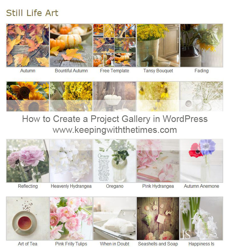 How to Create a Project Gallery in WordPress {keeping with the times dot com}
