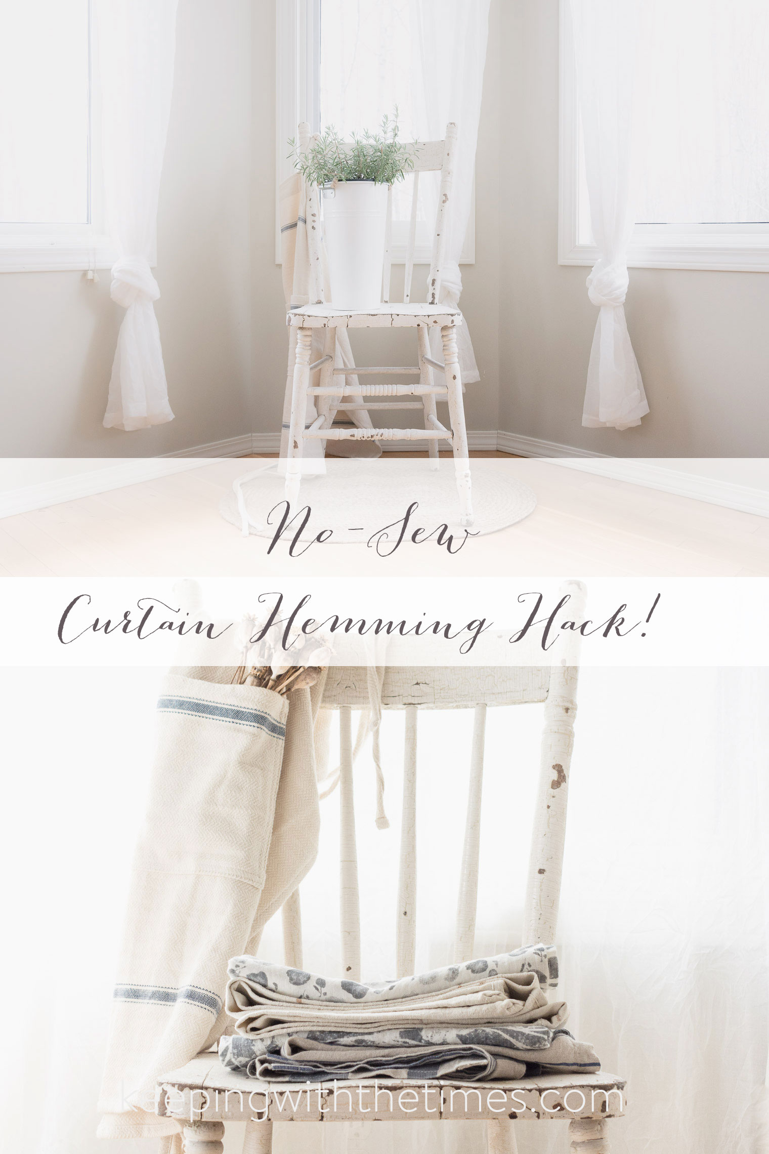 Hem curtains without sewing keeping with the times How to make a valance without sewing