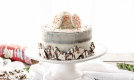 Naked Cake with Peppermint Bark and Mascarpone Buttercream