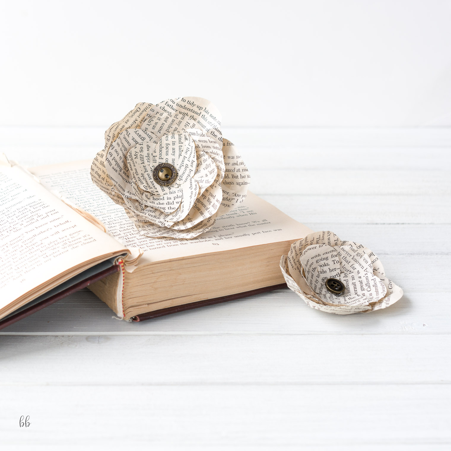 Vintage Book Paper Flowers DIY, Keeping With the Times, Barb Brookbank