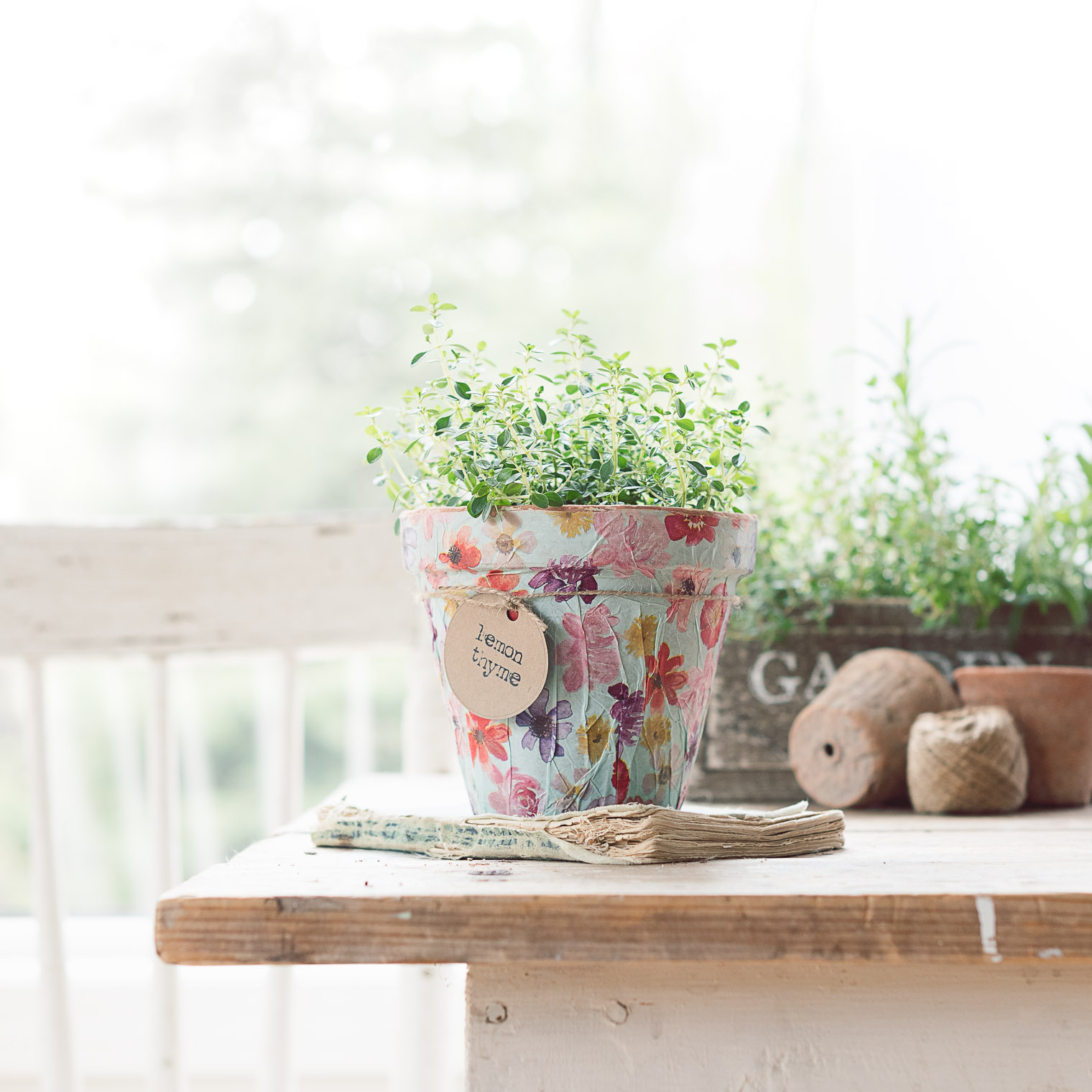 DIY Herb Pot using wrapping paper and Mod Podge, Keeping With the Times